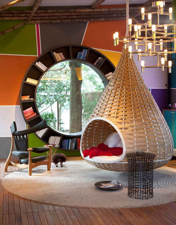 A_fresh_indoor_design_idea_round_window_bookcase